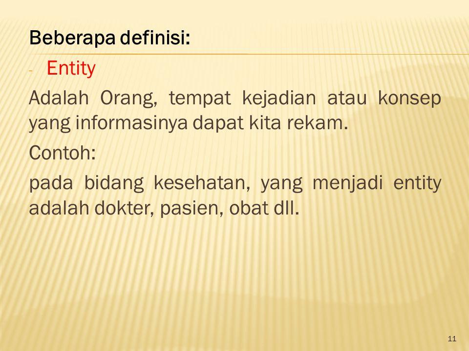 Beberapa definisi: Entity. Adalah Orang, tempat kejadian atau konsep yang informasinya dapat kita rekam.
