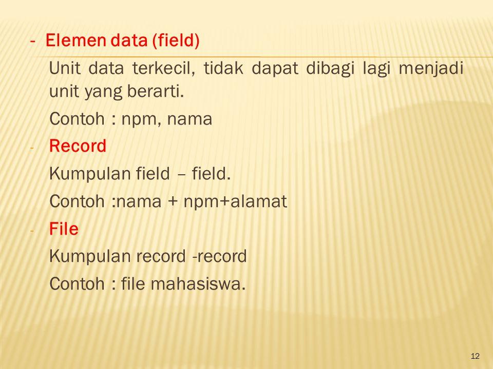 - Elemen data (field) Unit data terkecil, tidak dapat dibagi lagi menjadi unit yang berarti. Contoh : npm, nama.