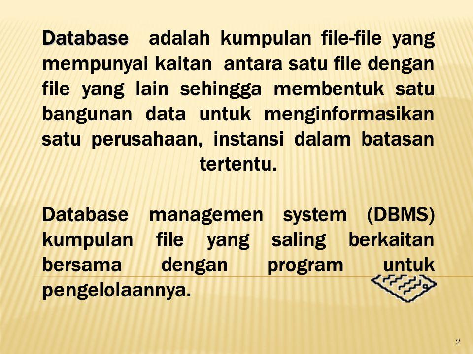 Database adalah kumpulan file-file yang mempunyai kaitan antara satu file dengan file yang lain sehingga membentuk satu bangunan data untuk menginformasikan satu perusahaan, instansi dalam batasan tertentu.