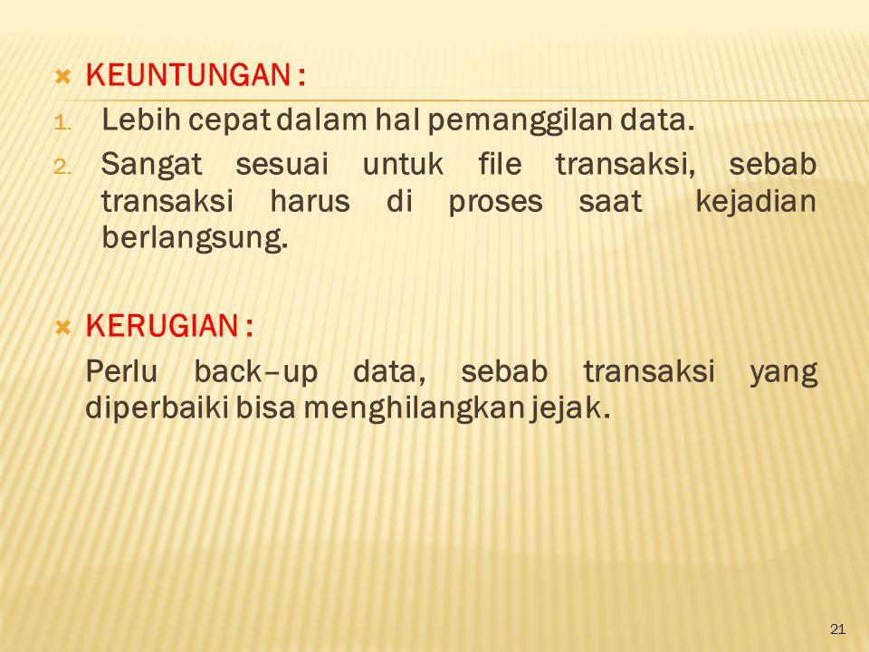 KEUNTUNGAN : Lebih cepat dalam hal pemanggilan data.