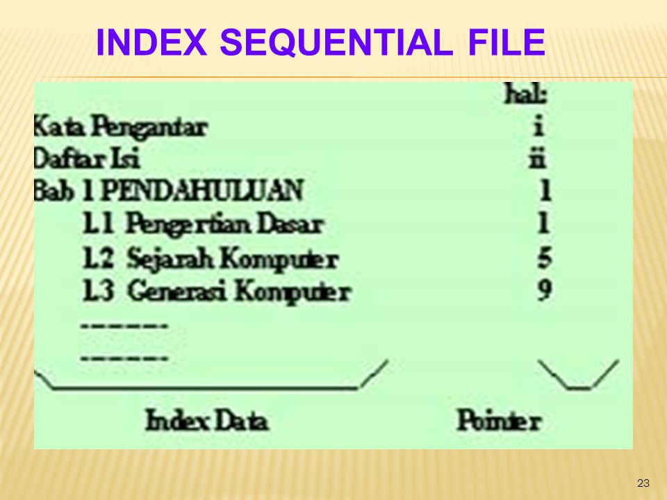INDEX SEQUENTIAL FILE