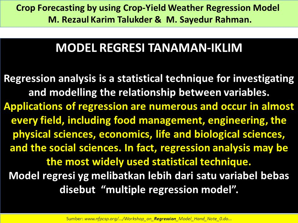 MODEL REGRESI TANAMAN-IKLIM