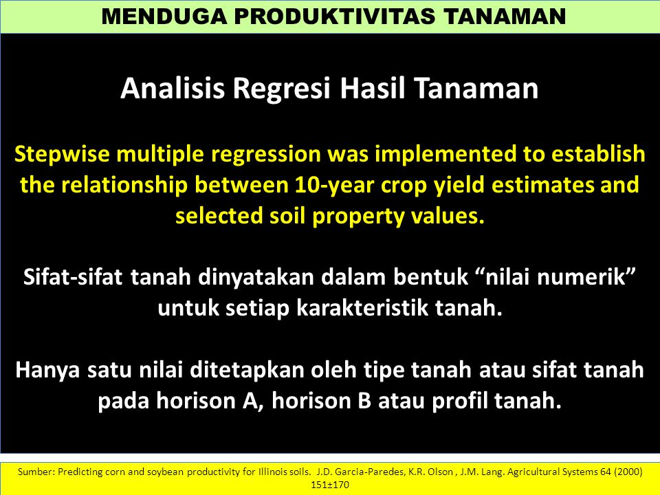 Analisis Regresi Hasil Tanaman
