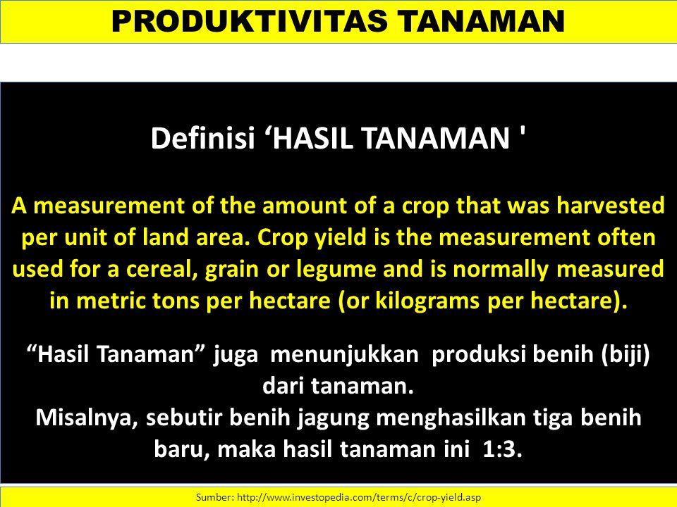 Definisi 'HASIL TANAMAN