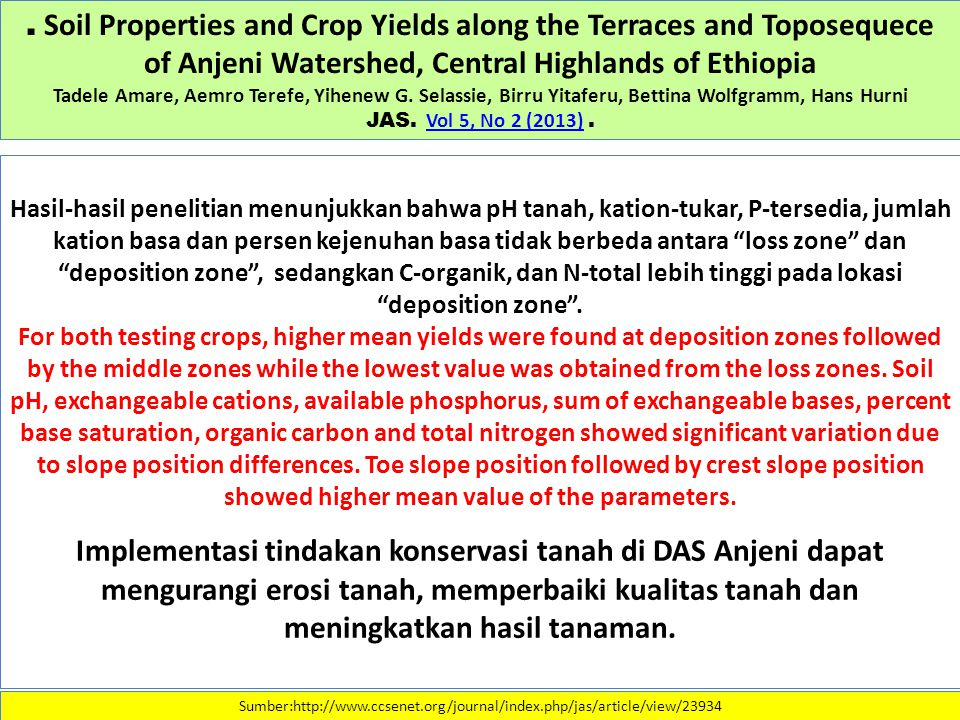 . Soil Properties and Crop Yields along the Terraces and Toposequece of Anjeni Watershed, Central Highlands of Ethiopia