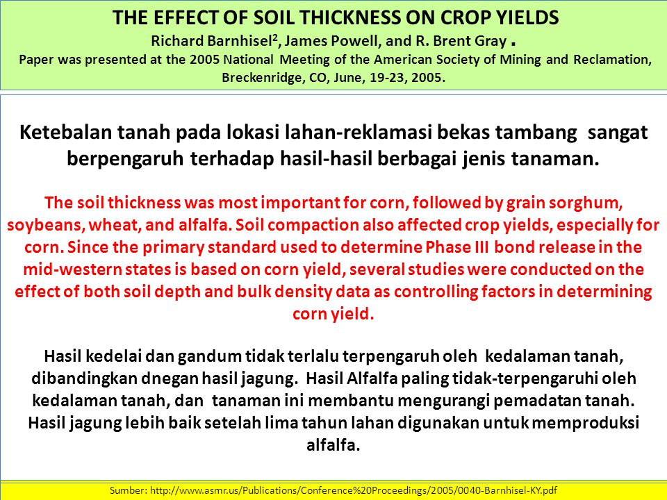 THE EFFECT OF SOIL THICKNESS ON CROP YIELDS