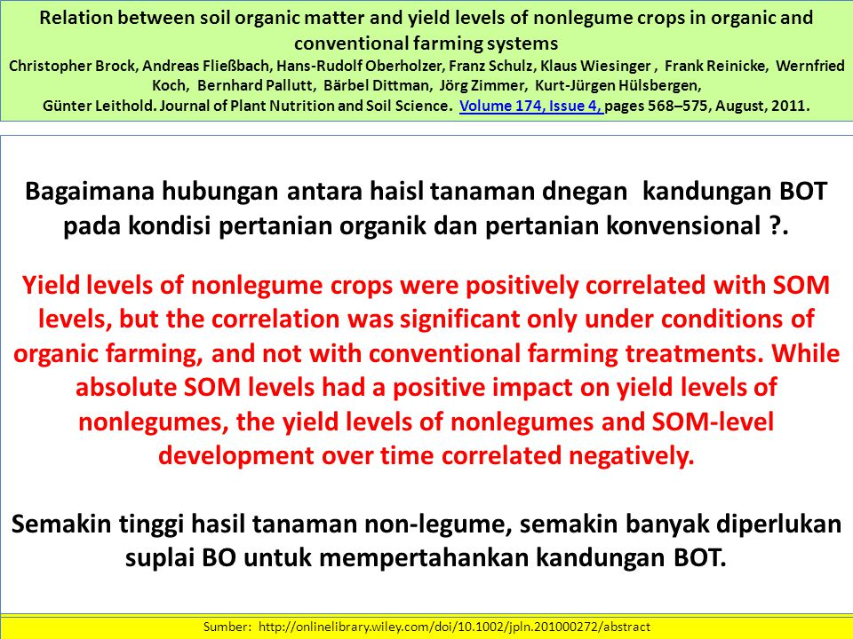 Relation between soil organic matter and yield levels of nonlegume crops in organic and conventional farming systems