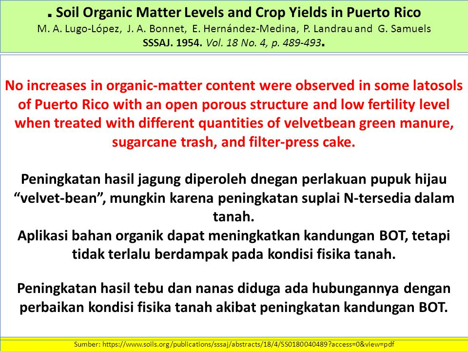 . Soil Organic Matter Levels and Crop Yields in Puerto Rico