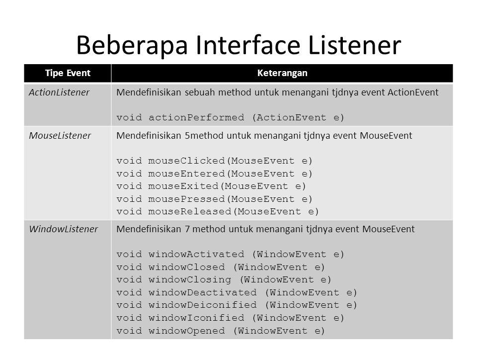 Beberapa Interface Listener