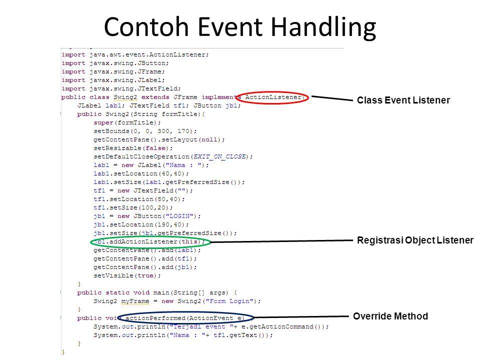 Contoh Event Handling Class Event Listener Registrasi Object Listener