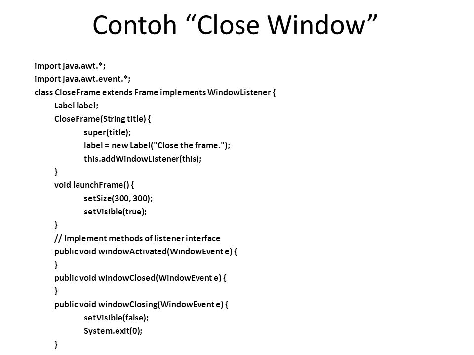 Contoh Close Window