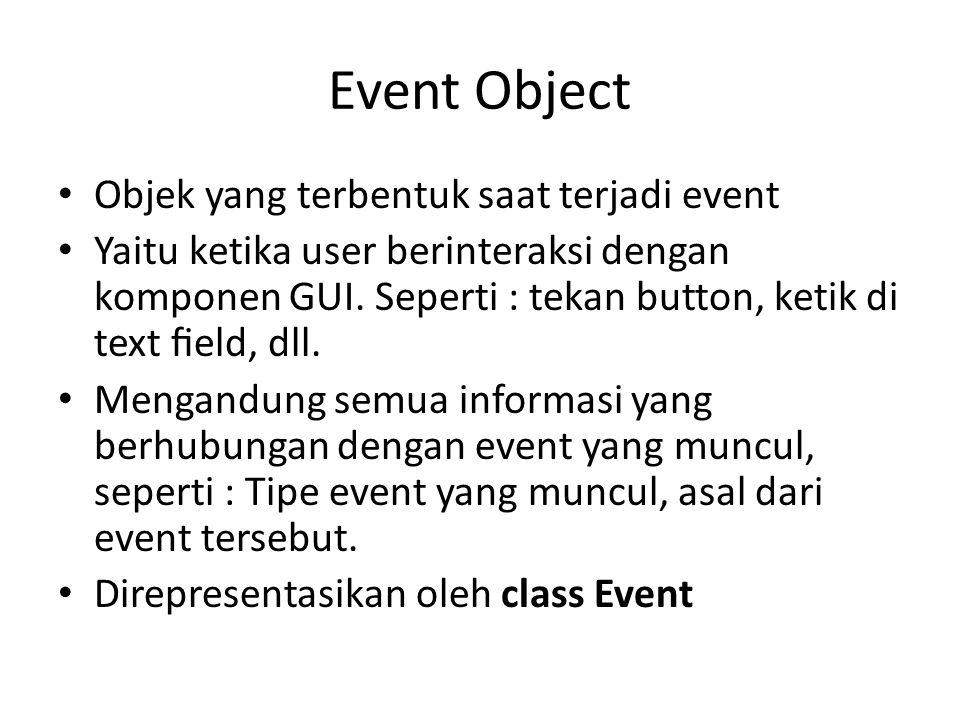 Event Object Objek yang terbentuk saat terjadi event