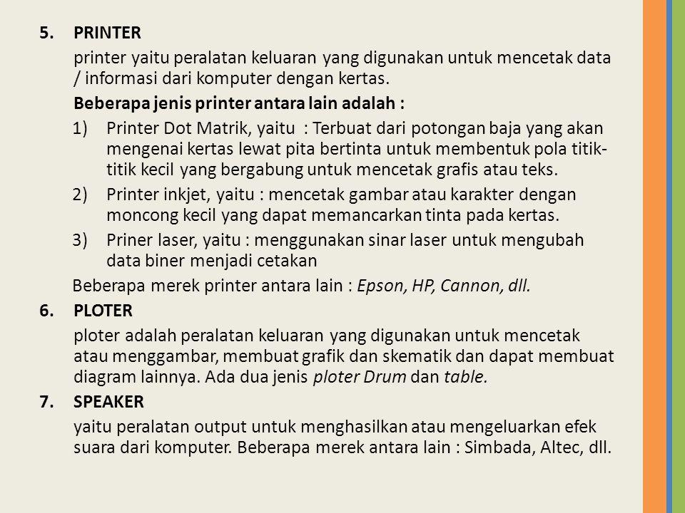 PRINTER printer yaitu peralatan keluaran yang digunakan untuk mencetak data / informasi dari komputer dengan kertas.