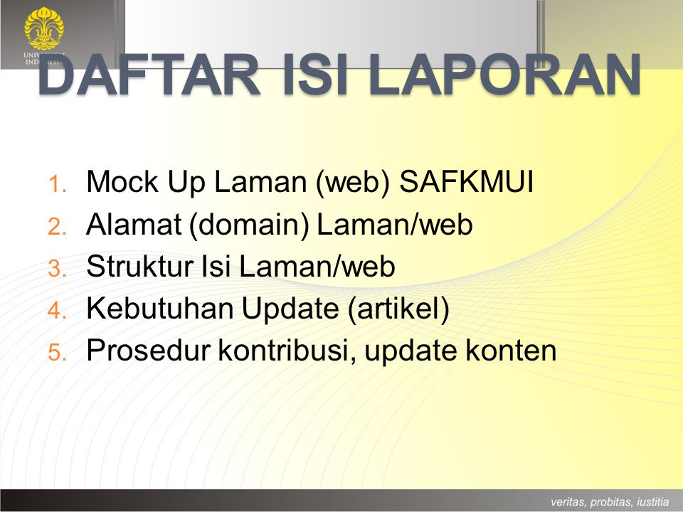 Daftar ISI LAPORAN Mock Up Laman (web) SAFKMUI