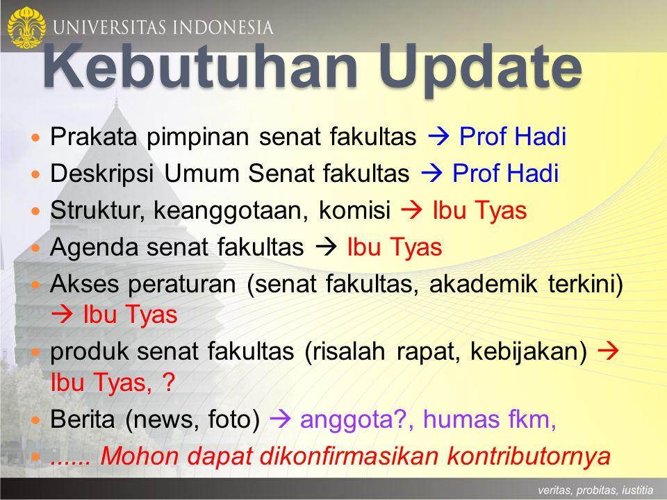 Kebutuhan Update Prakata pimpinan senat fakultas  Prof Hadi