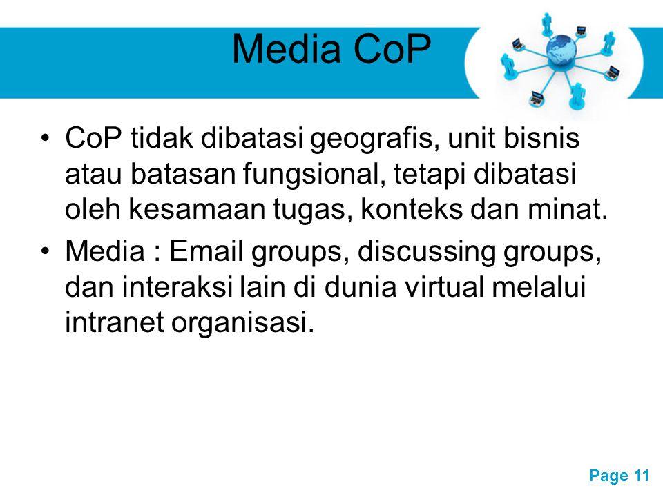 Media CoP CoP tidak dibatasi geografis, unit bisnis atau batasan fungsional, tetapi dibatasi oleh kesamaan tugas, konteks dan minat.