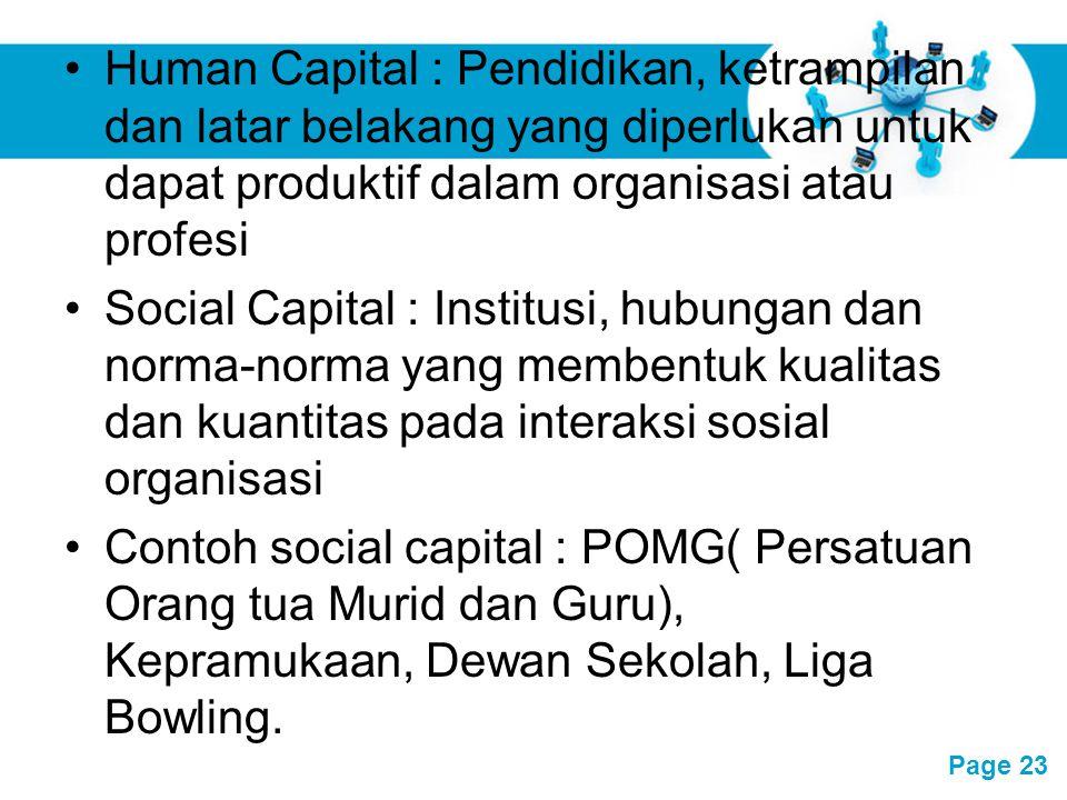 Human Capital : Pendidikan, ketrampilan dan latar belakang yang diperlukan untuk dapat produktif dalam organisasi atau profesi
