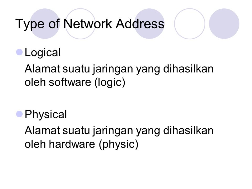 Type of Network Address
