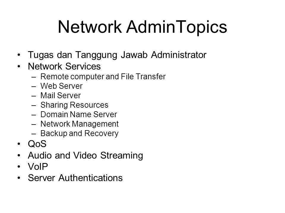 Network AdminTopics Tugas dan Tanggung Jawab Administrator