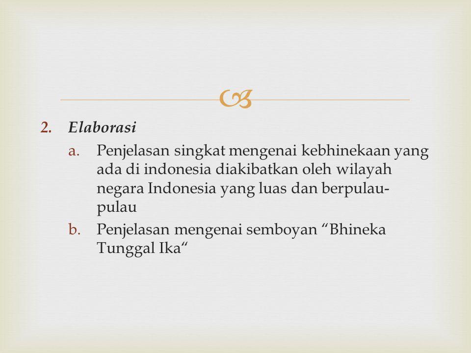Elaborasi Penjelasan singkat mengenai kebhinekaan yang ada di indonesia diakibatkan oleh wilayah negara Indonesia yang luas dan berpulau-pulau.