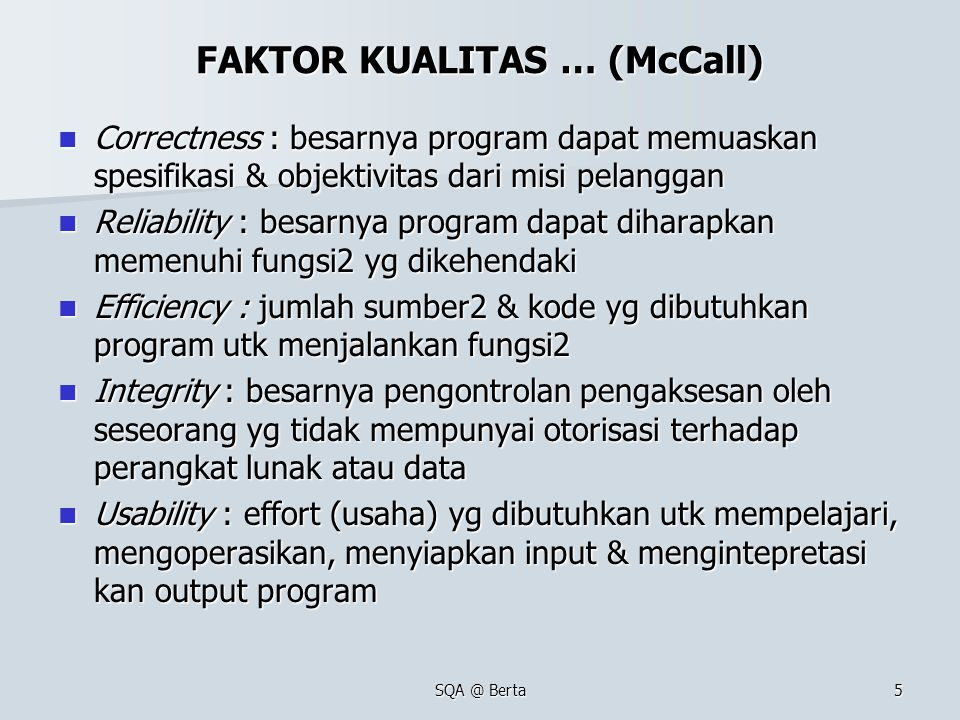 FAKTOR KUALITAS … (McCall)