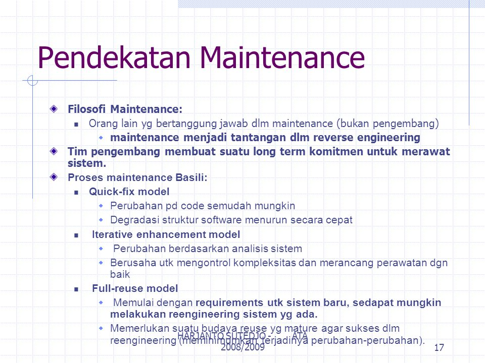 Pendekatan Maintenance