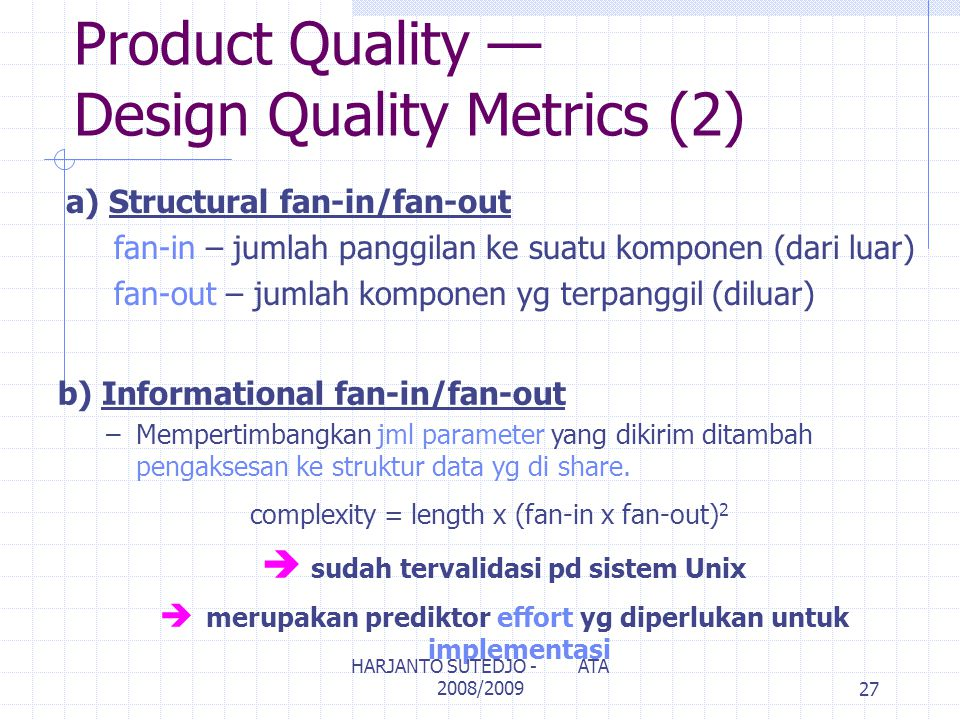 Product Quality — Design Quality Metrics (2)