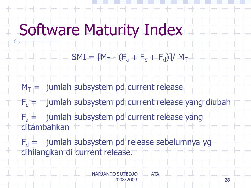 Software Maturity Index
