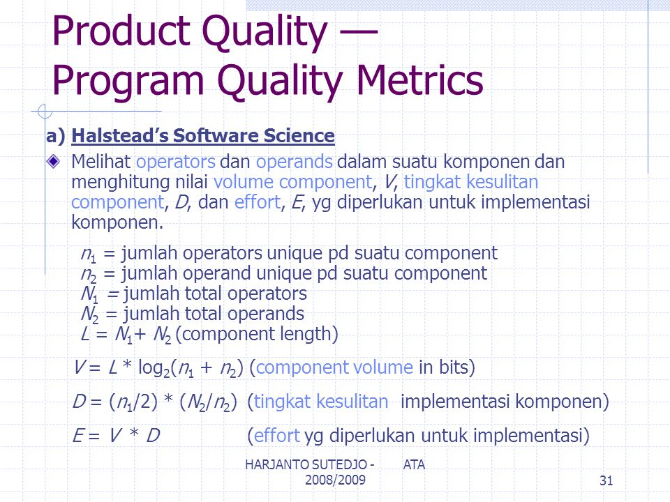 Product Quality — Program Quality Metrics