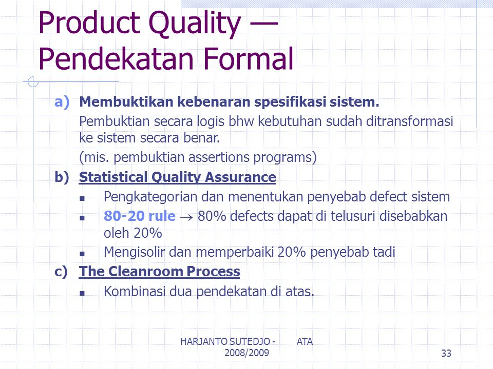 Product Quality — Pendekatan Formal