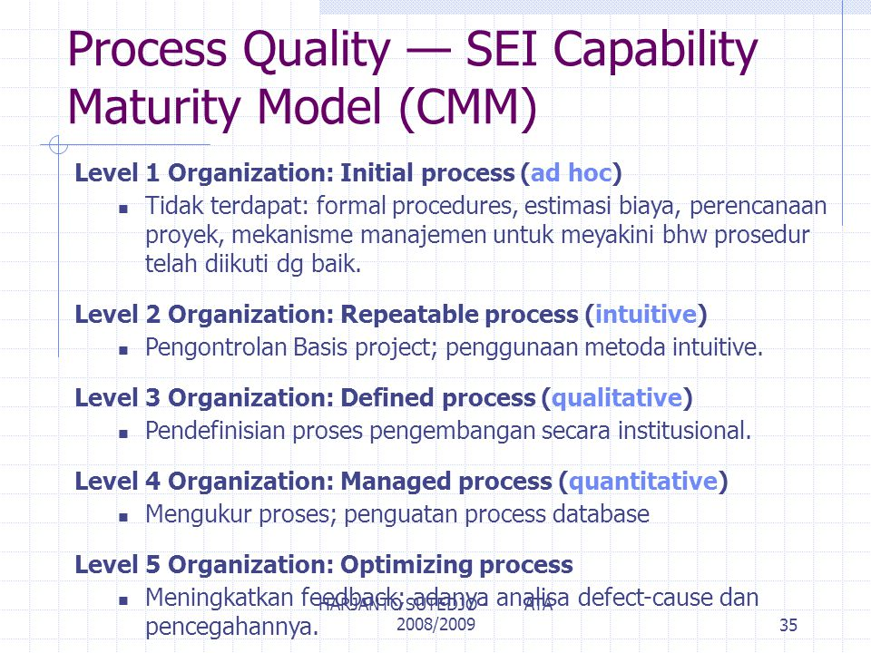 Process Quality — SEI Capability Maturity Model (CMM)