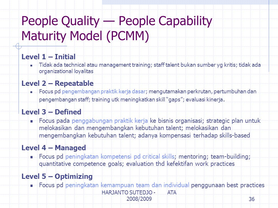 People Quality — People Capability Maturity Model (PCMM)