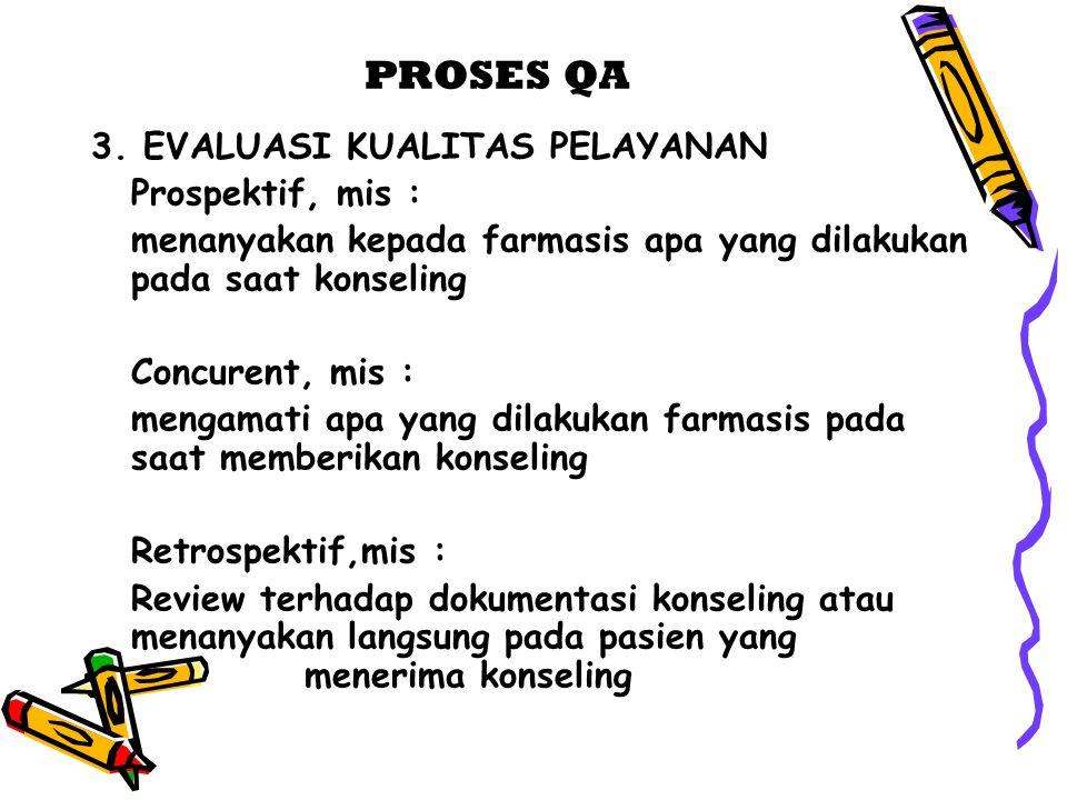 PROSES QA 3. EVALUASI KUALITAS PELAYANAN Prospektif, mis :