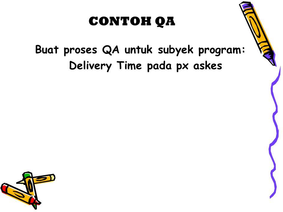 Buat proses QA untuk subyek program: Delivery Time pada px askes