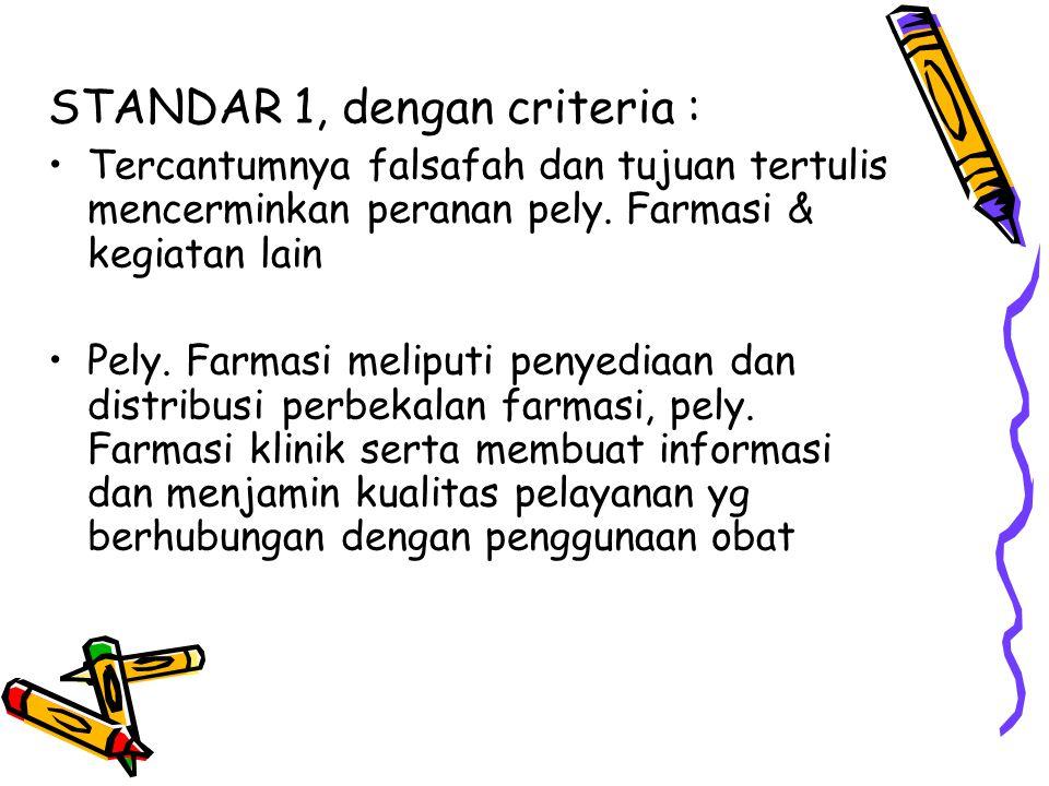 STANDAR 1, dengan criteria :