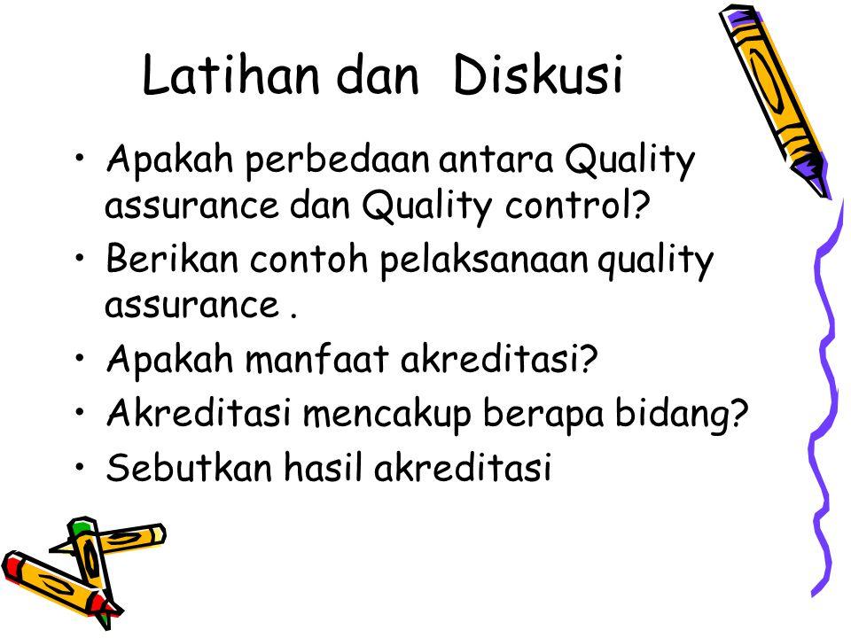 Latihan dan Diskusi Apakah perbedaan antara Quality assurance dan Quality control Berikan contoh pelaksanaan quality assurance .