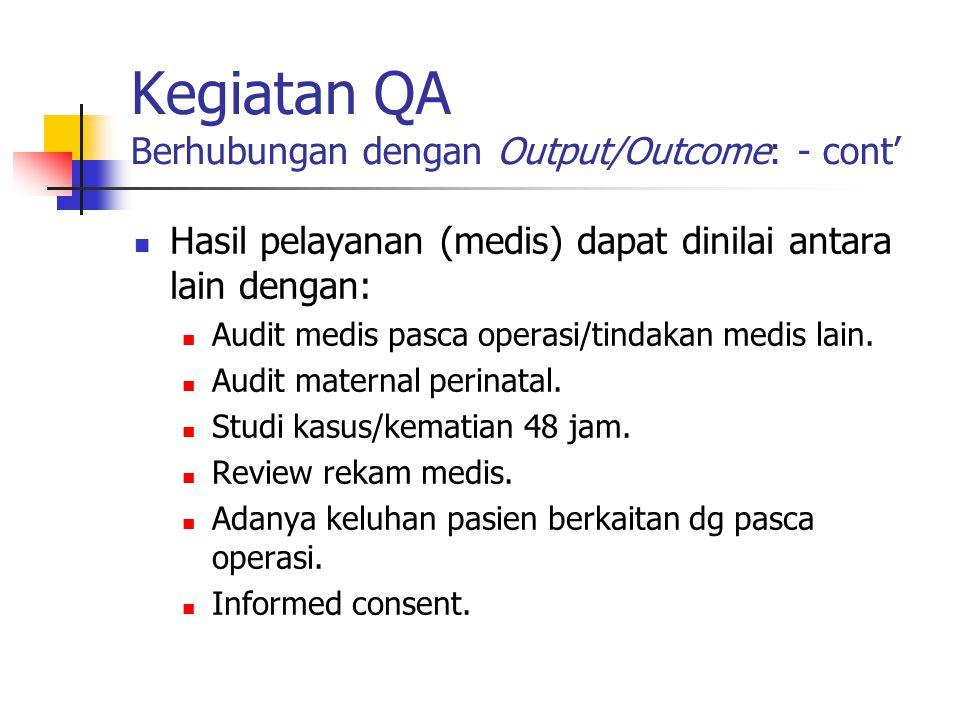 Kegiatan QA Berhubungan dengan Output/Outcome: - cont'