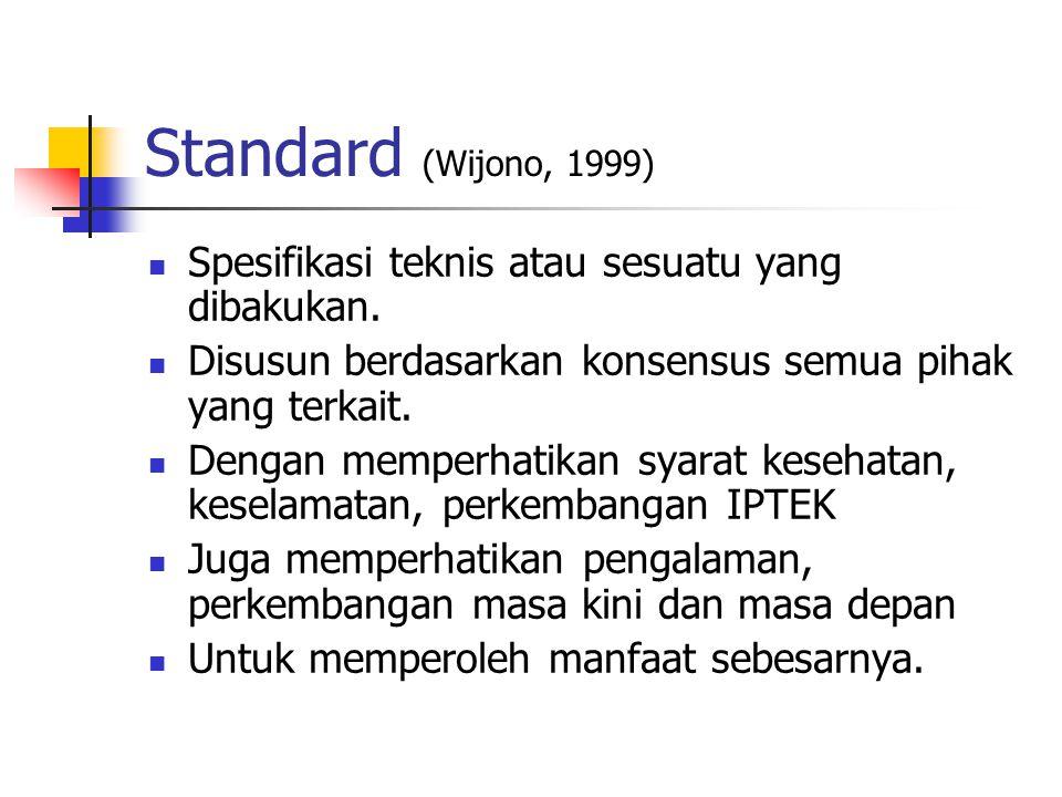Standard (Wijono, 1999) Spesifikasi teknis atau sesuatu yang dibakukan. Disusun berdasarkan konsensus semua pihak yang terkait.