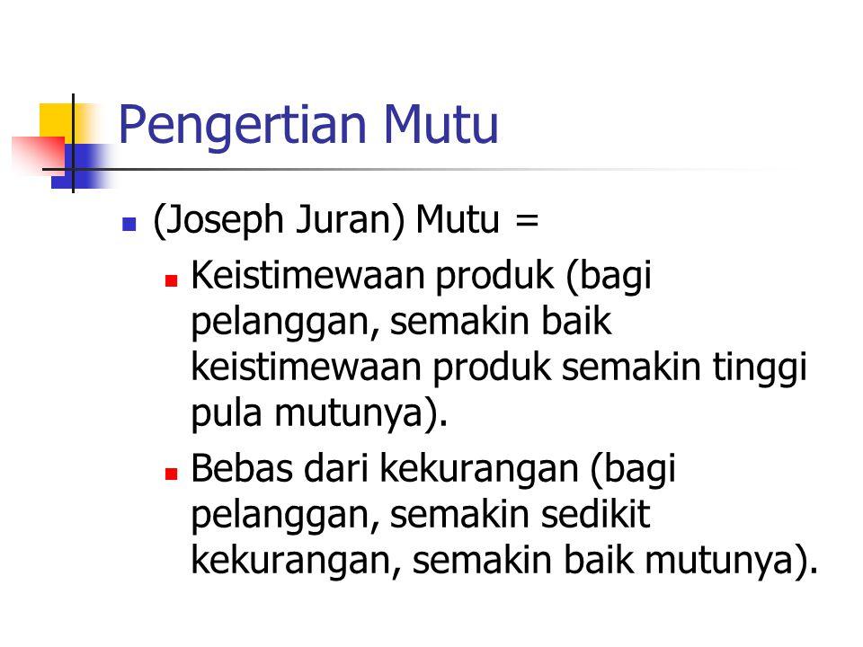 Pengertian Mutu (Joseph Juran) Mutu =
