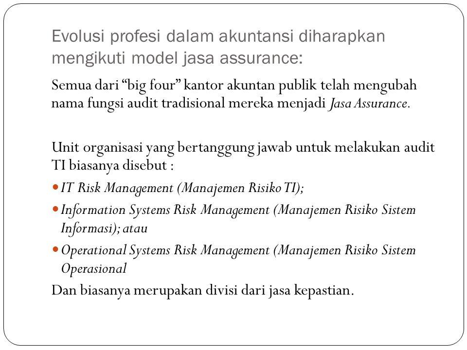 Evolusi profesi dalam akuntansi diharapkan mengikuti model jasa assurance: