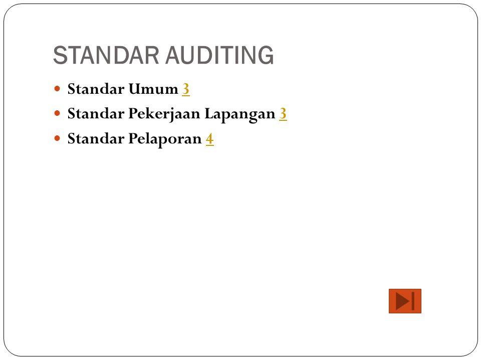 STANDAR AUDITING Standar Umum 3 Standar Pekerjaan Lapangan 3