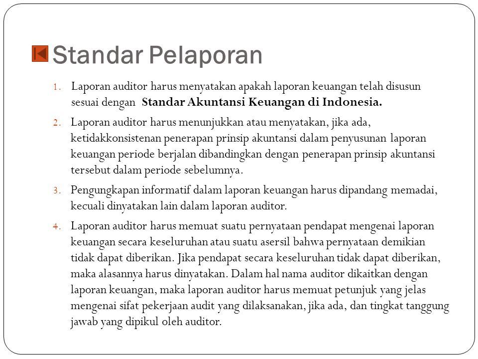 Standar Pelaporan Laporan auditor harus menyatakan apakah laporan keuangan telah disusun sesuai dengan Standar Akuntansi Keuangan di Indonesia.