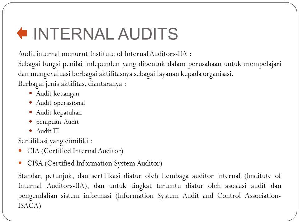 INTERNAL AUDITS Audit internal menurut Institute of Internal Auditors-IIA :