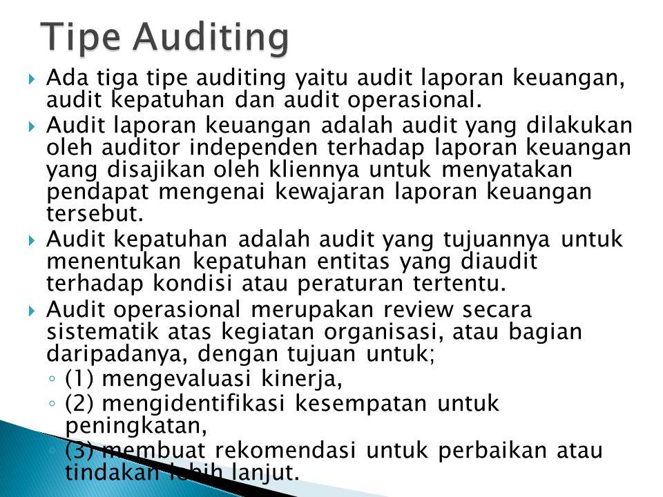 Tipe Auditing Ada tiga tipe auditing yaitu audit laporan keuangan, audit kepatuhan dan audit operasional.