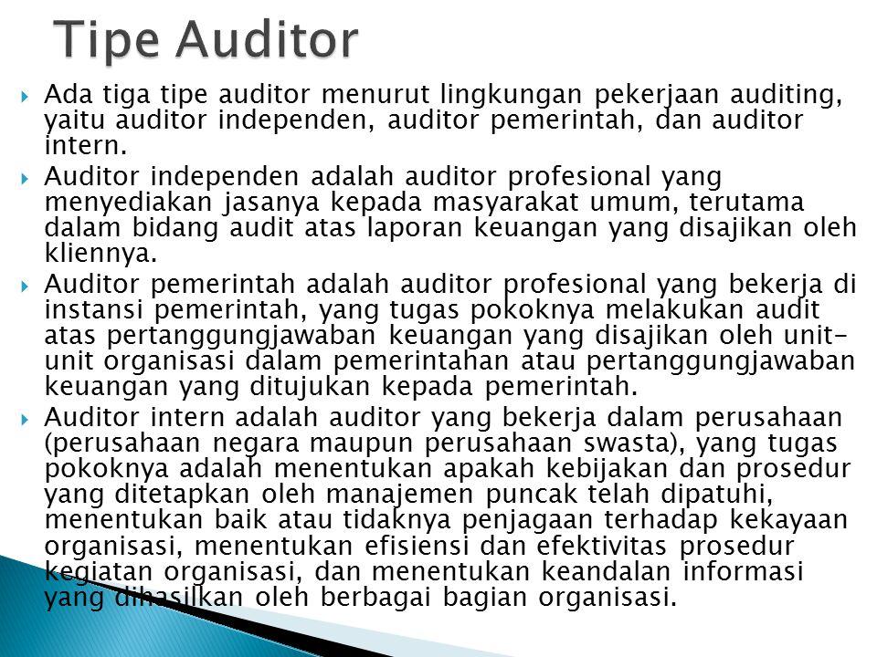Tipe Auditor Ada tiga tipe auditor menurut lingkungan pekerjaan auditing, yaitu auditor independen, auditor pemerintah, dan auditor intern.