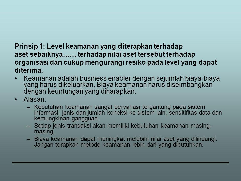 Prinsip 1: Level keamanan yang diterapkan terhadap