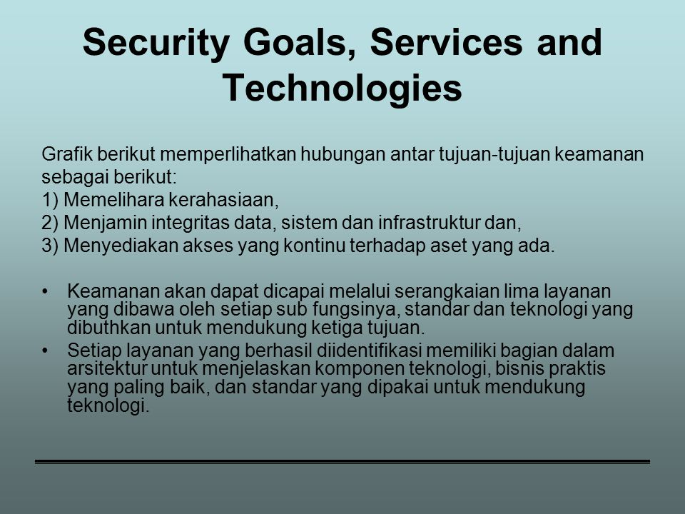Security Goals, Services and Technologies