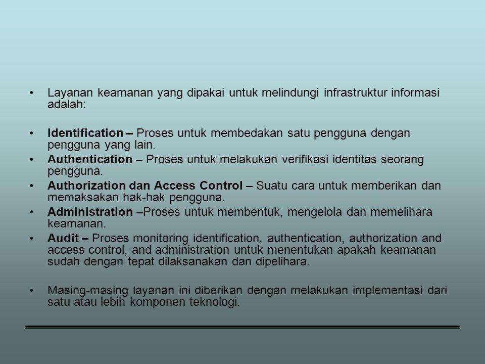 Layanan keamanan yang dipakai untuk melindungi infrastruktur informasi adalah: