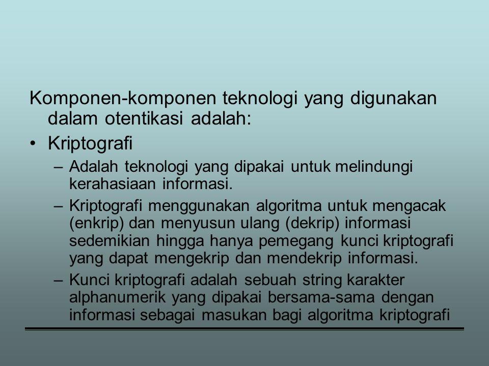 Komponen-komponen teknologi yang digunakan dalam otentikasi adalah: