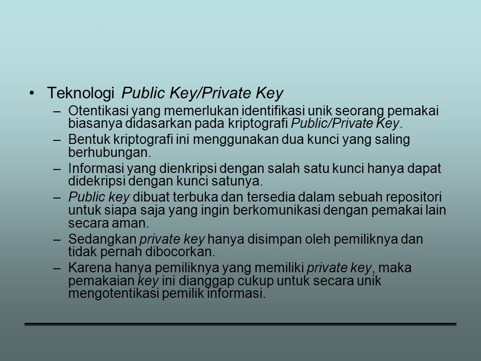Teknologi Public Key/Private Key